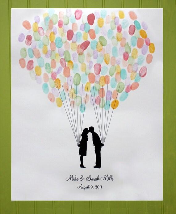 custom silhouette wedding guest book alternative print with. Black Bedroom Furniture Sets. Home Design Ideas