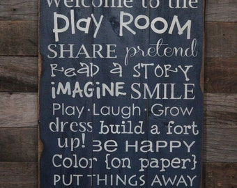 Large Wood Sign - Welcome to the Play  Room - Subway Sign - Play Room - Kids - Nursery - Inspiration - Home Decor - Gallery Wall