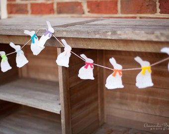 SALE White Easter Bunny Garland Bunting with Bright Bows