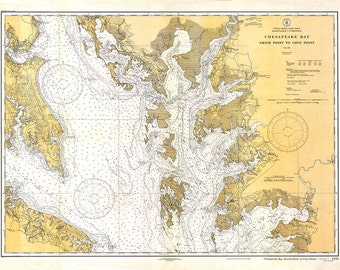 1934 Nautical Chart of Chesapeake Bay