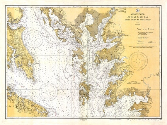 Vintage 1934 Nautical Chart of Chesapeake BayOld Nautical Chart