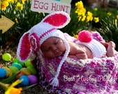 White Easter Bunny with Flower Crocheted Hat and Diaper Cover - Photo Prop - Available in Any Size or Color Combination