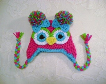 Bright Pink, Turquoise and Lime Crochet Owl Hat - Photo Prop - Available in Any Size or Color Combination