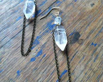 Quartz Crystal Point Earrings with brass Chain. 14k gold fill