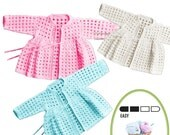 Instant Download VKNC232 Baby CardiganTop matinee Jacket  easy girls boys Crochet Pattern PDF