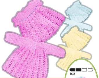 Instant Download 30. Baby retro style matinee jacket and dress Crochet Pattern- PDF - Instant Download