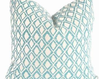 Nate Berkus Aquamarine Wood Block Diamond Decorative Pillow Cover, Lumbar pillow, Accent Pillow, Throw Pillows,