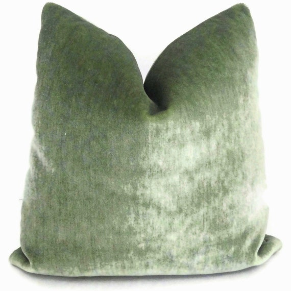 Sage Green Mohair Velvet Decorative Pillow Cover 18x18 20x20