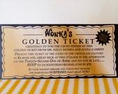 WILLY WONKA Golden Ticket Invitation - Digital printable file/Printing Available Upon Request