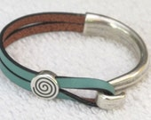 Bianchi Celeste. Leather Wrap Bracelet, Whirly Wrap, Antique Silver Hook, silver coil, unique elegant  Bicycle Accessory, easy hook clasp