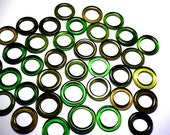 Recycled  Multi Green Colors Recycled Kiln Polished Bottle Rings 36 Rings (R471)