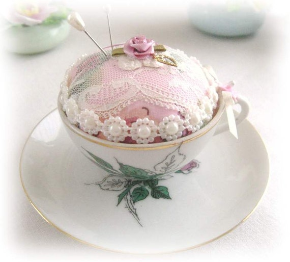 Teacup Pincushion, VINTAGE TEACUP Mini, Handmade Soft Sculpture Handcrafted CharlotteStyle Needlecraft