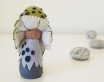 Waldorf inspired natural wool felt stuffed mushroom doll / Nolin