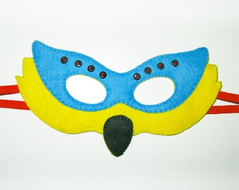 Parrot Felt Mask for kids adult - Yellow Blue - handmade carnival bird costume - for boys girls - Dress up play accessory - Theatre roleplay