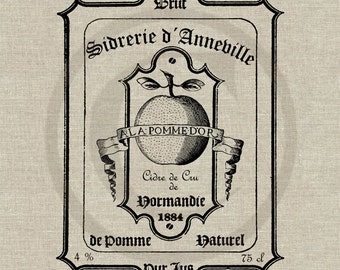 Vintage French Cider Label Instant Download Digital Imagee No.159 Iron-On Transfer to Fabric (burlap, linen) Paper Prints (cards, tags)