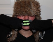 Black Gloves with Conductive Fingertips and Neon Green Mustaches - Touchscreen Cell Phone Ready - For Her
