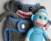 Blue sock monkey hat, pants and blue monkey doll 0-3 months