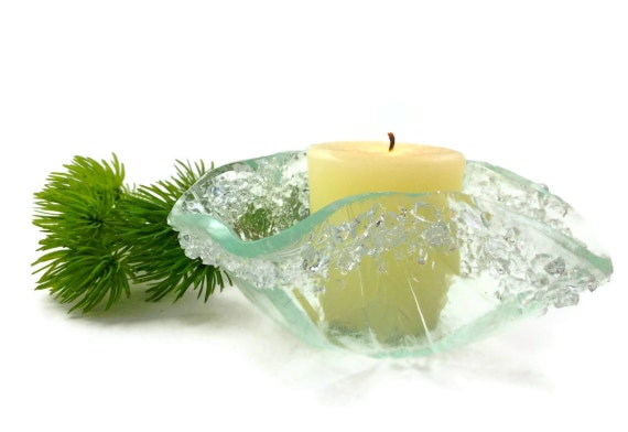 Fused Glass Candle Holder  with Crystal Rim  Glacial Ice Color 095