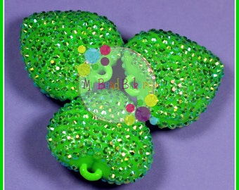 42mm Rhinestone Heart 1 Piece AB Green Pendant Bead DIY Crafts For Chunky Necklaces
