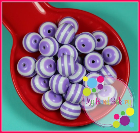 6 Pieces 20mm Purple Striped Resin Gumball Style Beads DIY Crafts For Chunky Necklaces And Bracelets