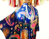Navy Blue Paisley BOHO Caftan with Hot Pink Orange and Yellow Flowers 1970s Vintage