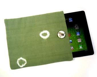 IPad tablet cover . Back to school.  One of a kind.  Old fabric hand dyed