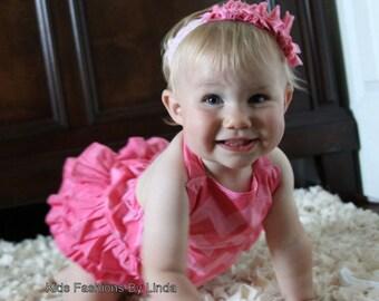Hot Pink Tonal Chevron  Baby/Toddler Ruffle Bubble Romper