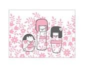 "One ""Kokeshi Dolls"" 4-Bar Floral Notecard"