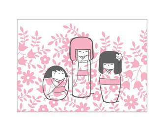 "One ""Kokeshi Dolls"" 4-Bar Floral Notecard"