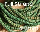CLEARANCE - SALE- Full Strand  Khaki Green round coco beads 4-5mm (approx. 100-130 pcs/strand)