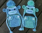 TWIN Newborn Crochet Sock MONKEYS n Matching Diaper COVERS Blue Green White Earflap Hat With Braids Pom Pom -- Adorable Photo Props