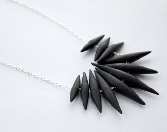 Black Medium Size Quill Like Necklace - Hand Sculpted Polymer Clay Quills On Delicate Chain