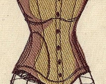 Steampunk Corsetry Embroidered Flour Sack Hand/Dish Towel
