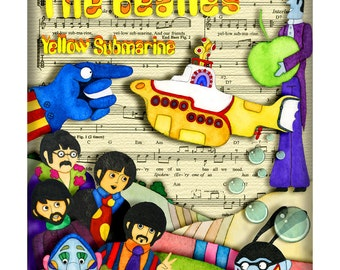 Yellow Submarine Beatles Rock and Roll Nursery Art Print  Matted 8 x 10 inches