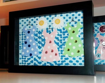Daisies With Dresses 6x8 Inches Framed