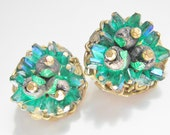 SaLe Vintage Hobe Earrings Green Blue Crystal Lava Bead signed 60s