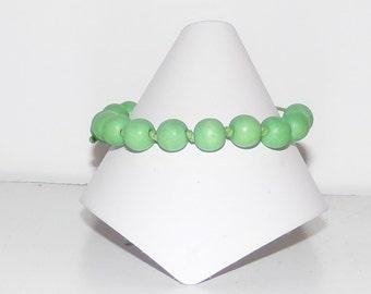 Green Bracelet, Wood Bracelet, Hand-Knotted Bracelet, Green Wood Bracelet, Hemp Bracelet, Handmade Bracelet