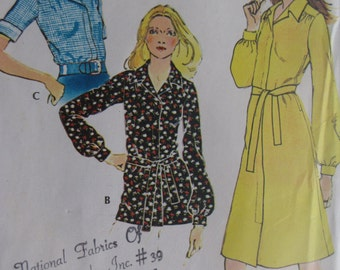 Vintage 1972 Women's Shirt  Dress or Blouse Pattern - Size 14 - Bust 36 - McCall's 3236
