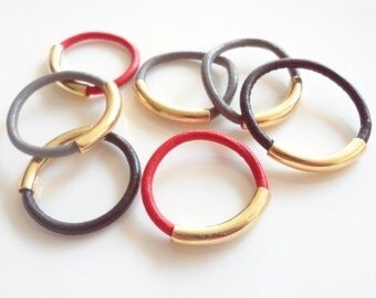 1 Stacking Leather Ring, Gold Ring, Stack, Band, Stacked, Fashion, Accesories, Handmade Jewelry, Jewellery, Unisex, Men, Women