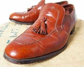Vintage 60s Florsheim Imperial Shoes Chestnut Leather Moc Toe Loafers - Men's 10 D