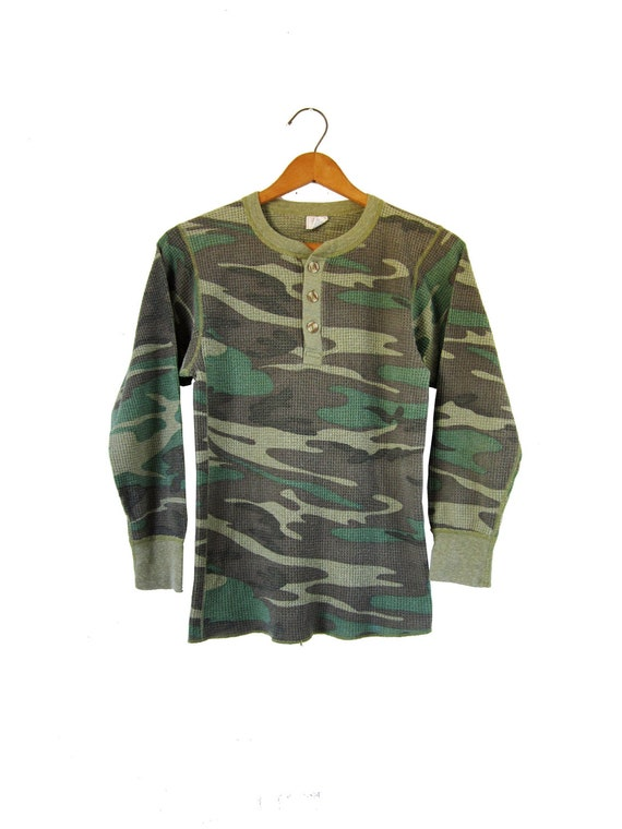 Vintage Camo Thermal Shirt Long Johns Half Button Up