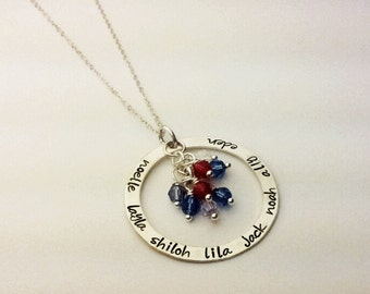 Sterling silver washer necklace engraved hand stamped .925