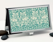 Handmade Business Card Case, William Morris Brother Rabbit in Teal and Cream, Credit Card Case or Card Holder, Metal Wallet