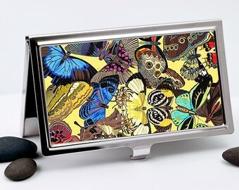 Business Card Case, Credit Card Case, Vintage Art Nouveau Butterfly Collage, Retro Men or Women's Accessory