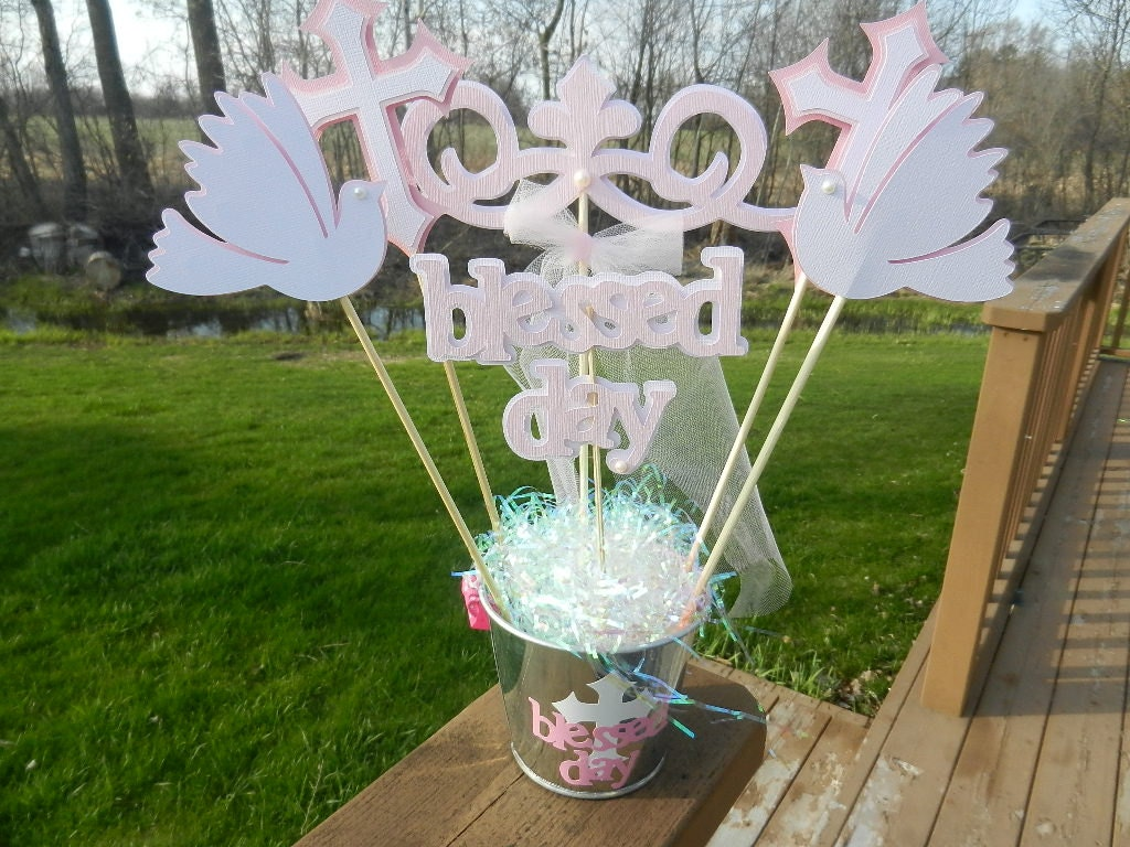 Baptism christening table decoration centerpiece by table4six - Decorations for a baptism ...