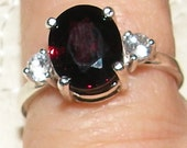 Ruby Red Garnet Ring with White Sapphire Accent