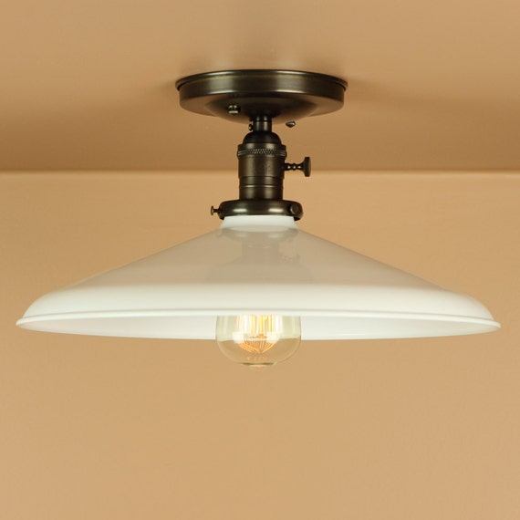 Semi Flush Light w/ 14 inch White Porcelain Enamel Shade - Oil Rubbed Bronze / Satin Nickel - Lighting for Low Ceilings - Down Rod Option