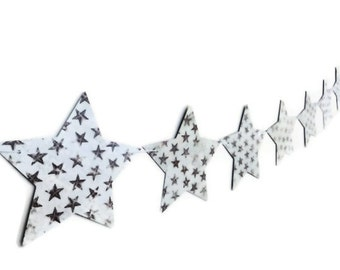 Star Paper Bunting, Country Style Banner, Boy's Room Decoration, Birthday Party Streamer, Photo Prop Garland, Brown Stars