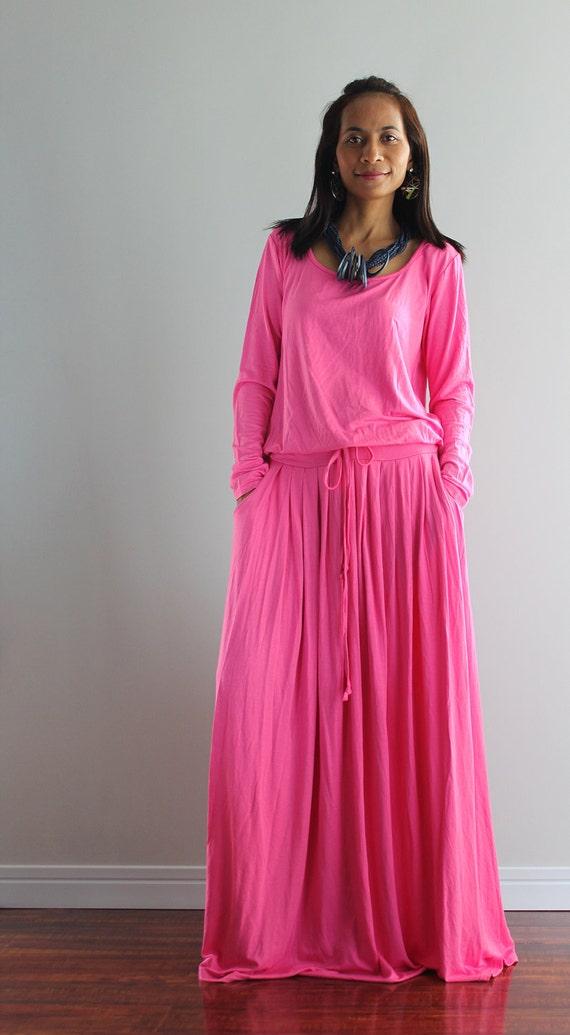 Maxi Dress Pink Long Sleeve Dress Autumn Thrills