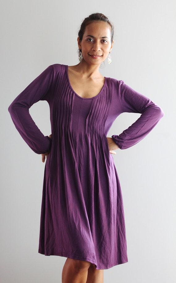 short purple dress long sleeve casual dress autumn